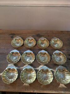 12 Gorham Sterling Silver Gold Washed Caviar Clam Shell Bowl Place Card Holder