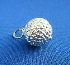 VINTAGE 925 STERLING SILVER CHARM PUFFED XMAS BALL BAUBLE