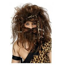 CRAZY CAVEMAN WIG WITH HEADBAND, BONES AND BRAIDS - COSTUME ACCESSORIES
