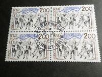 FRANCE BLOC timbres 2139 EUROPA CEPT, oblitéré 1981 cachet rond, QUARTINA