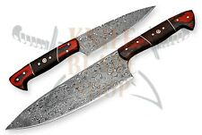 2 piece set of Damascus steel BLADE KITCHEN KNIVES/CHEF KNIVES WOOD HANDLE