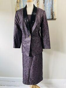 JUSTIN TAYLOR Women 2PC Beautiful Purple Black Skirt Suit Size 16W