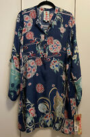 New! NWT $258 Large Johnny Was Ellyonora Half-Placket Tunic Floral Long Sleeve L