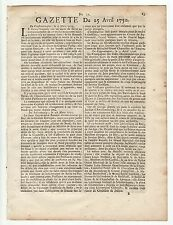 1750, April 25,Original French Gazette # 17, News from various locations