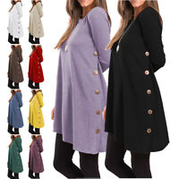Women Swing O Neck Tunic Blouse Button Side Loose Casual Shirt Long Sleeve Top