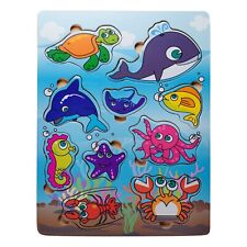 Eliiti Wooden Sea Animals Puzzle for Toddlers 2 to 4 Years Old Boys Girls Toy