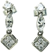 Diamonds drop dangle earrings 18ct white gold vintage round and marquise 1.26ct