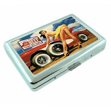 Texas Pin Up Girls D1 Silver Metal Cigarette Case RFID Protection Wallet