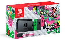 NEW Nintendo Switch Splatoon 2 Console Green Pink Joy Con 32GB + Case Bundle