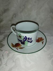 ROYAL WORCESTER EVESHAM VALE CUP AND SAUCER  GREEN BAND VGC