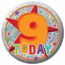 Holography Happy 9th Birthday Badge 9 Today Party Celebration