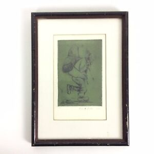 Mary Betts Pen Ink Illustration Asian Man Carrying Pack By 1967 Matted Framed