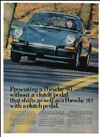 Porsche 911 Blue Automobile 1973 Print Ad ~ Sportomatic No Clutch Pedal