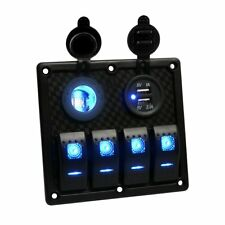 4 Gang LED Waterproof USB Toggle Automotive Rocker Switch Panel Car Marine Boat