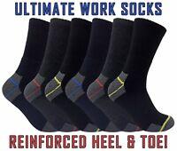 Mens Ultimate Heavy Duty Cushioned Cotton Steel Toe Boot Crew Work Socks Lot