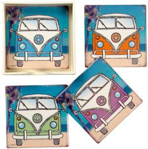 Camper Van Coasters & Holder Set of 4 Square 10x10cm Colourful Ceramic Tiles