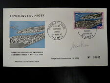 NIGER  AERIEN 72   PREMIER JOUR FDC    EXPO UNIVERSELLE MONTREAL   100F     1967