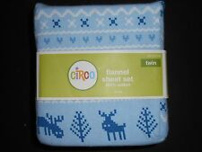 Circo Flannel Sheet Set blue reindeers, fox, racoons, cabin TWIN Size NWT