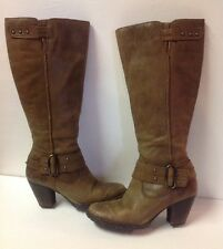 Women's BOC by BORN Brown Leather Fashion Knee High Straps Boots 6 (36.5)