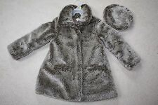 ELIANE ET LENA PARIS FRANCE COAT  FAUX FUR COAT AND BERET SET 4- 5 110 5T