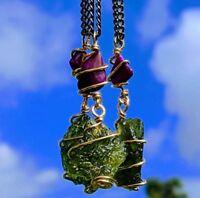 MOLDAVITE & SUGILITE Pendant In GOLD. Amulet Tektite Crystal Necklace Synergy 12