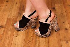 70s style nude & black snakeskin platform heels size 6