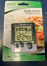TAYLOR Dual Event Large Display Digital Kitchen Timer With Magnetic Back & Clip