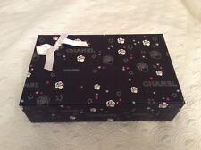 Chanel Gift Box Empty Big Collectors Unique Rare Camellia Black Red Stars Ribbon