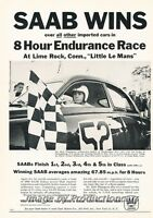 1961 SAAB Wins Little LeMans Race - Original Advertisement Print Art Car Ad J682