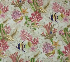 P KAUFMANN CORAL REEF TROPICAL D3016 ANGELFISH SEAHORSE SEASHELL FABRIC BY YARD