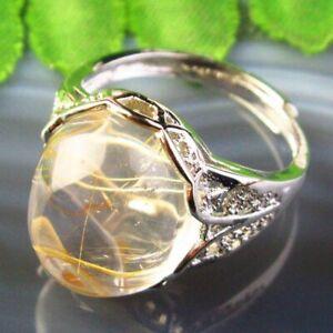 Copper Wrap Natural Gold Rutilated Quartz Oval AdjustablePendant Ring B50729