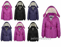 New Girls Coat School Padded Hooded Jacket Age 2 3 4 years Waterproof New Pink