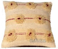 Indian Shaggy Wool 18x18 Rug Pillow Throw Ethnic Hand Knotted Sofa Cushion Cover