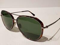 Tom Ford Vittorio Aviator Sunglasses Brown Tortoiseshell Trim 60-16-145