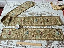 2 Pieces Of Antique French c1870-1880 Floral Cotton Jacquard Woven Border Fabric