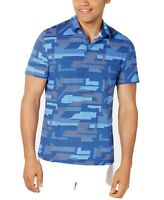 Alfani Mens Polo Shirt Blue Size 2XL Two Tone Geo Print Short Sleeve $55 026