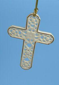 Lenox Pierced Cross Porcelain  Ivory W Gold Trim  Christmas Ornament