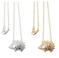 Small Cute Woodland Hedgehog Pendant Necklace Gold Silver & Gift Bag