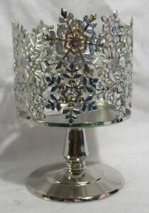 Bath & Body Works 3-Wick 14.5 oz Pedestal Candle Sleeve Holder gold silver upick