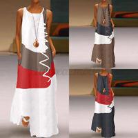 ZANZEA UK Womens Summer Kaftan Maxi Dress Casual Vintage Patchwork Long Dresses