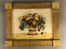 Signed Marie E DeVerter 1978 Theorem Painting On Velvet In Paint Decorated Frame