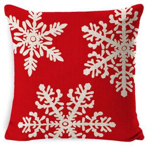 Linen Red Christmas Print Pillowcase Sofa Living Room Office Home Cushion Cover