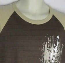 AUSTRALIA Men's 2 Tone Brown Surf Sydney 3/4 Sleeve T-Shirt 100% Cotton Size L