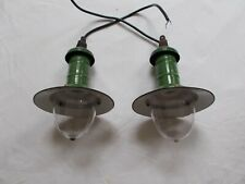 PAIRE LAMPE SUSPENSION DESIGN INDUSTRIELLE INDUSTRIEL EMAILLE LAMP INDUSTRIAL