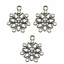 Antiqued Silver Alloy Snowflake Shaped Pendants Charms Jewelry Crafts 58pcs/lot