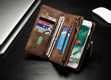 CASEME Luxury Magnetic Leather Zipper Case multiple Pocket For Iphone 8+ Brown