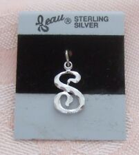"""Vintage BEAU LETTER """"S"""" Sterling Silver Charm ON CARD"""