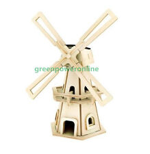 Solar Energy DIY Kit Brick Block Wood Windmill Child Educational Puzzle Toy W110