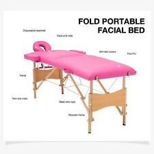 "84""L Portable Fold Massage Table Facial Spa Pink Bed Tattoo W/ Carry Case"