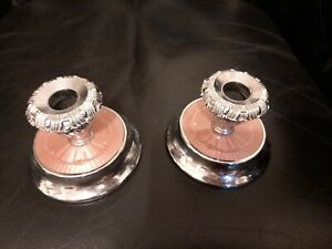 Pretty Vintage Pair Pink Guilloche Style Candle Holders Candlesticks